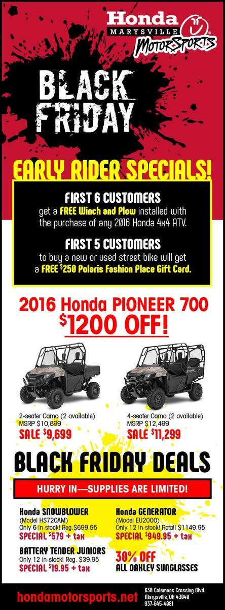 Black Friday 2016 Honda Marysville Motorsports Ohio